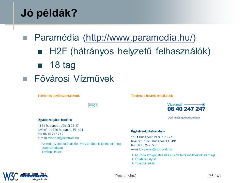 DSD Pataki Máté35 / 41 Jó példák?  Paramédia (http://www.paramedia.hu/)http://www.paramedia.hu/  H2F (hátrányos helyzetű felhasználók)  18 tag  Fő