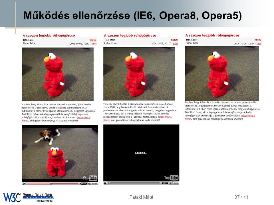 DSD Pataki Máté37 / 41 Működés ellenőrzése (IE6, Opera8, Opera5)