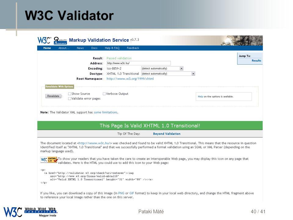 DSD Pataki Máté40 / 41 W3C Validator