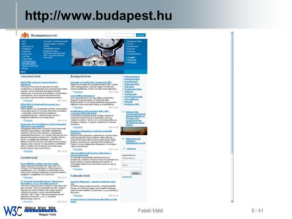DSD Pataki Máté30 / 41 Elavult böngésző / operációs rendszer  Nem biztos, hogy van:  JavaScript  Flash  Java  …  http://www.fkf.hu/ http://www.fkf.hu/  Javascripttel  És nélküle