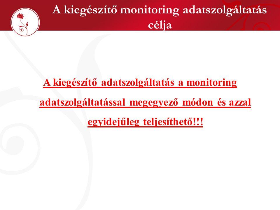 A kiegészítő monitoring adatszolgáltatás célja A kiegészítő adatszolgáltatás a monitoring adatszolgáltatással megegyező módon és azzal egyidejűleg teljesíthető!!!