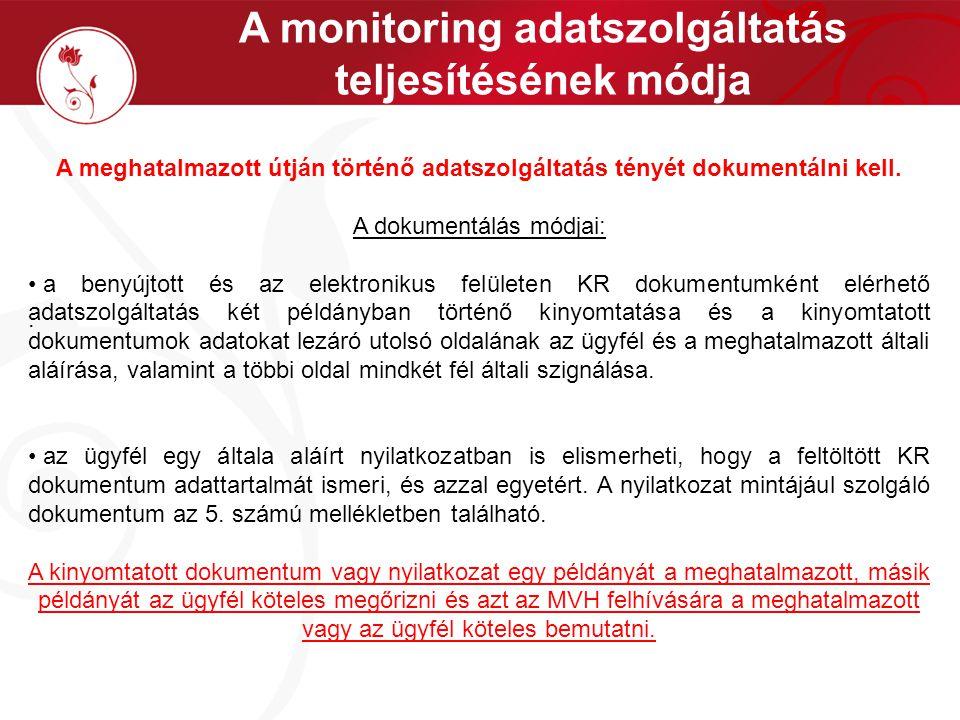 A monitoring adatszolgáltatás teljesítésének módja.