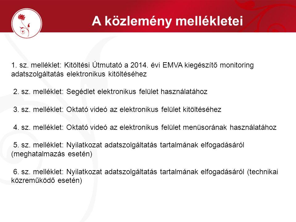 A közlemény mellékletei 1. sz. melléklet: Kitöltési Útmutató a 2014.