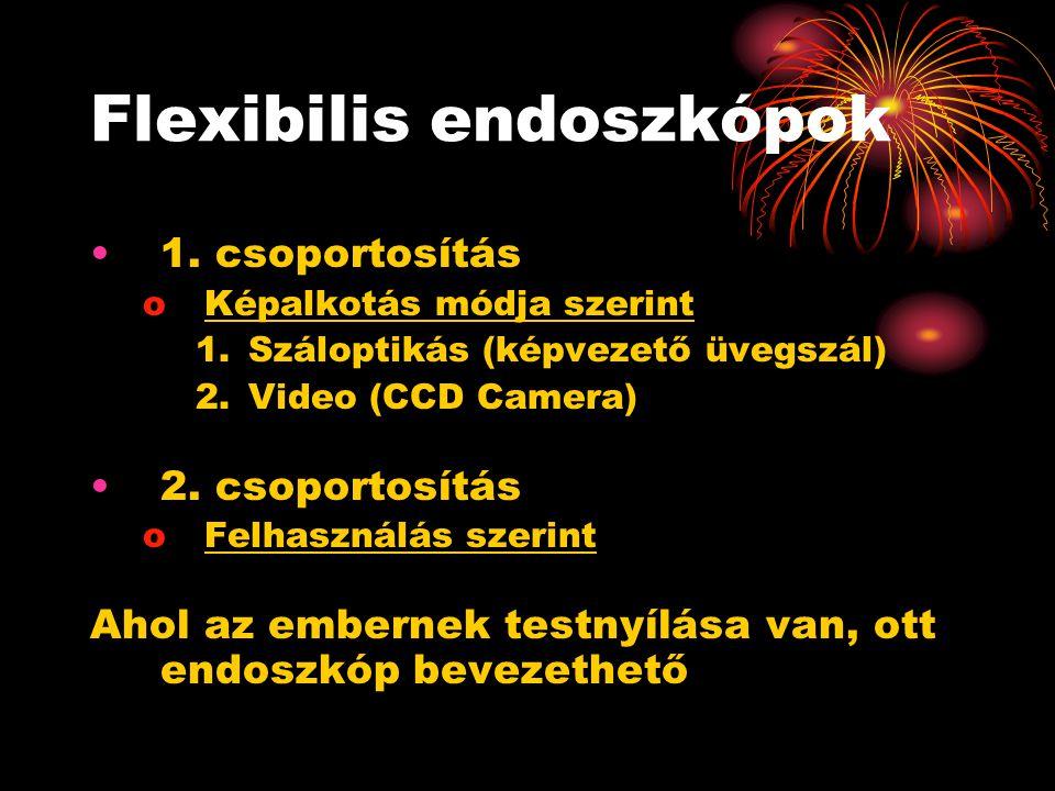 Flexibilis endoszkópok •1. csoportosítás oKépalkotás módja szerint 1.Száloptikás (képvezető üvegszál) 2.Video (CCD Camera) •2. csoportosítás oFelhaszn