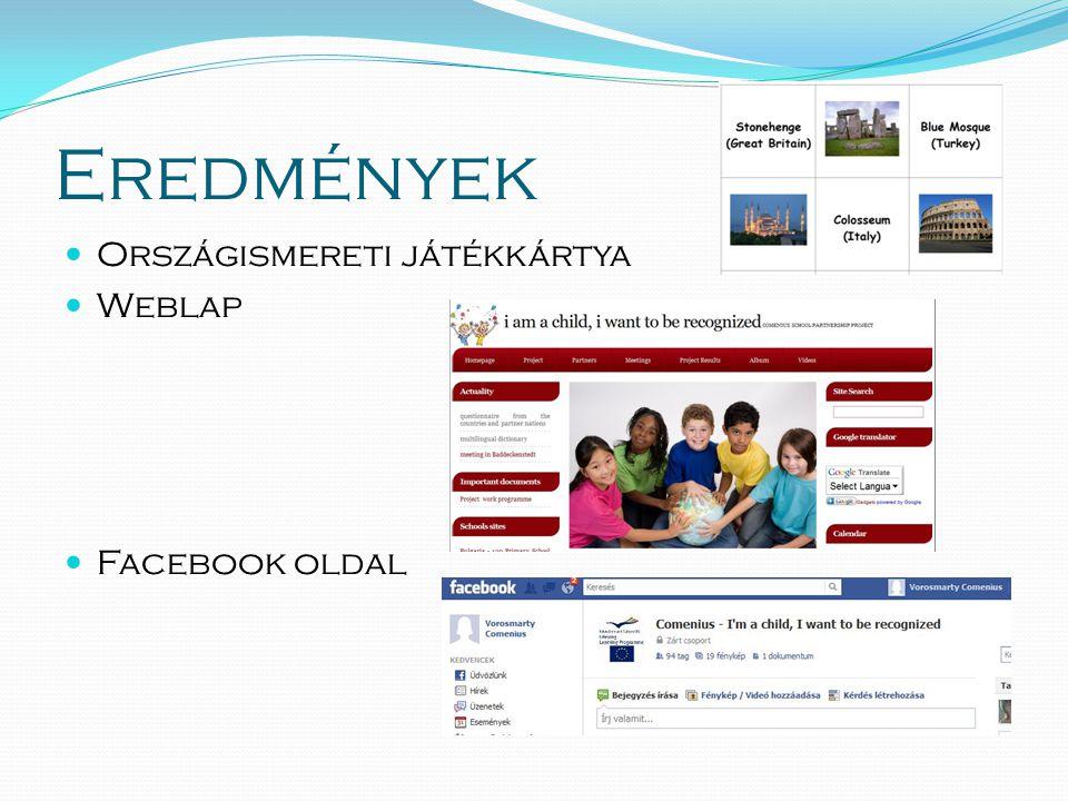 Eredmények  Országismereti játékkártya  Weblap  Facebook oldal