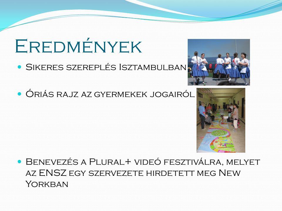 Eredmények  Sikeres szereplés Isztambulban  Óriás rajz az gyermekek jogairól  Benevezés a Plural+ videó fesztiválra, melyet az ENSZ egy szervezete hirdetett meg New Yorkban