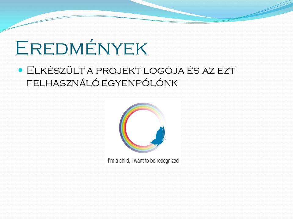 Eredmények  Elkészült a projekt logója és az ezt felhasználó egyenpólónk