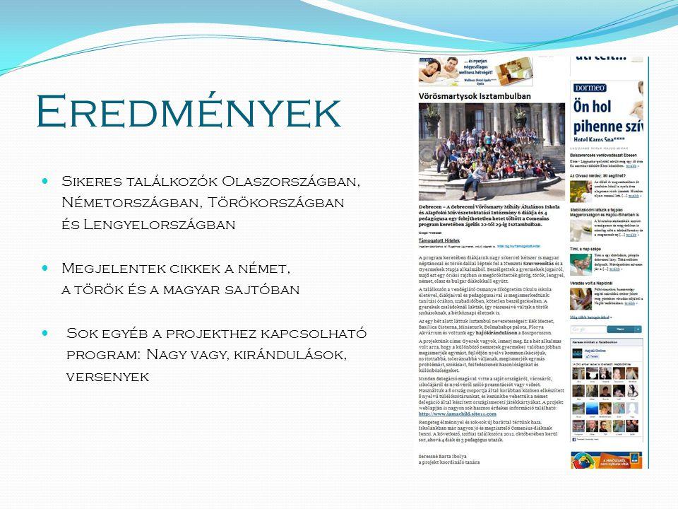 Eredmények  Sikeres találkozók Olaszországban, Németországban, Törökországban és Lengyelországban  Megjelentek cikkek a német, a török és a magyar sajtóban  Sok egyéb a projekthez kapcsolható program: Nagy vagy, kirándulások, versenyek