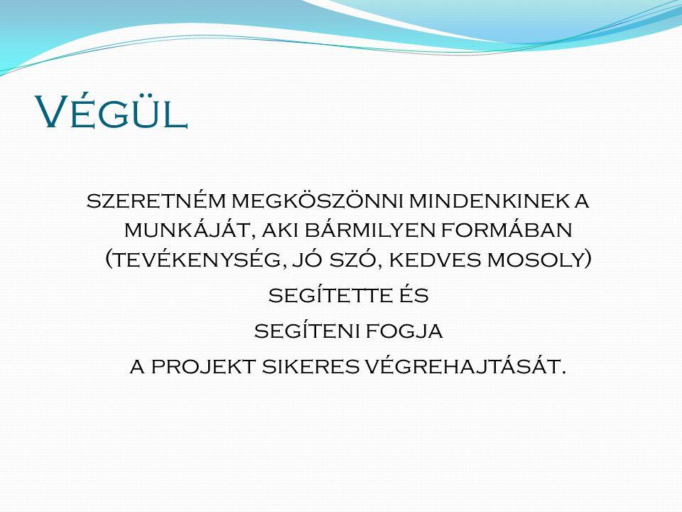 Végül szeretném megköszönni mindenkinek a munkáját, aki bármilyen formában (tevékenység, jó szó, kedves mosoly) segítette és segíteni fogja a projekt sikeres végrehajtását.