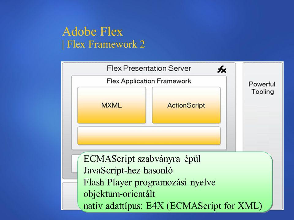Adobe Flex | Flex Framework 2 ECMAScript szabványra épül JavaScript-hez hasonló Flash Player programozási nyelve objektum-orientált natív adattípus: E4X (ECMAScript for XML) ECMAScript szabványra épül JavaScript-hez hasonló Flash Player programozási nyelve objektum-orientált natív adattípus: E4X (ECMAScript for XML)