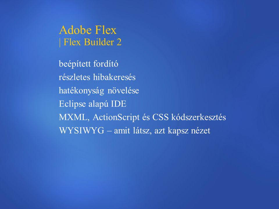 Adobe Flex | Flex Builder 2 beépített fordító részletes hibakeresés hatékonyság növelése Eclipse alapú IDE MXML, ActionScript és CSS kódszerkesztés WY