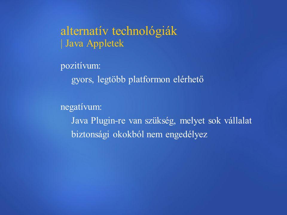 alternatív technológiák | Java Appletek pozitívum: gyors, legtöbb platformon elérhető negatívum: Java Plugin-re van szükség, melyet sok vállalat biztonsági okokból nem engedélyez
