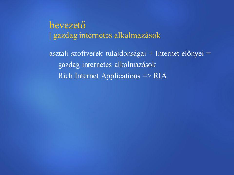 bevezető | gazdag internetes alkalmazások asztali szoftverek tulajdonságai + Internet előnyei = gazdag internetes alkalmazások Rich Internet Applications => RIA