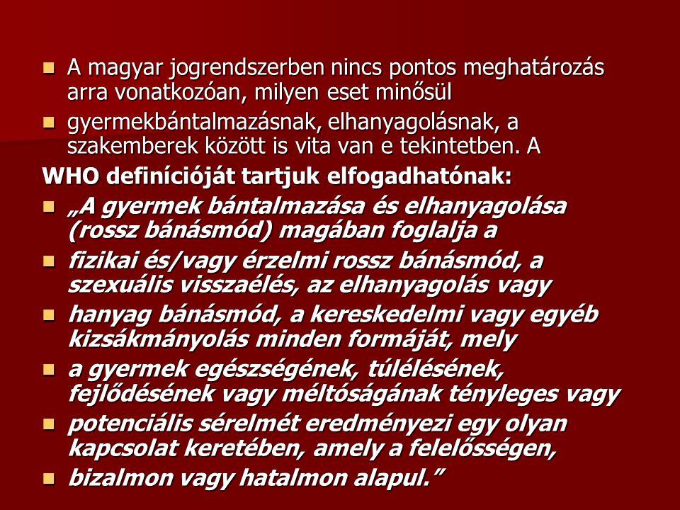  A magyar jogrendszerben nincs pontos meghatározás arra vonatkozóan, milyen eset minősül  gyermekbántalmazásnak, elhanyagolásnak, a szakemberek közö