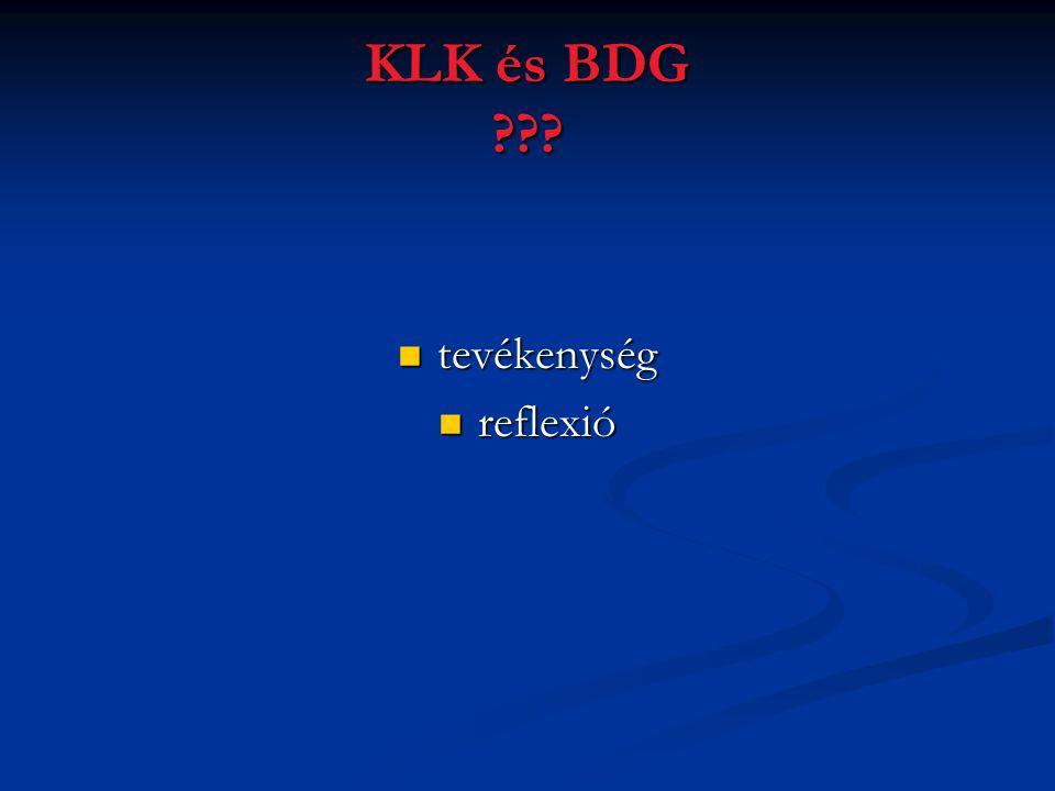 KLK és BDG ???  tevékenység  reflexió