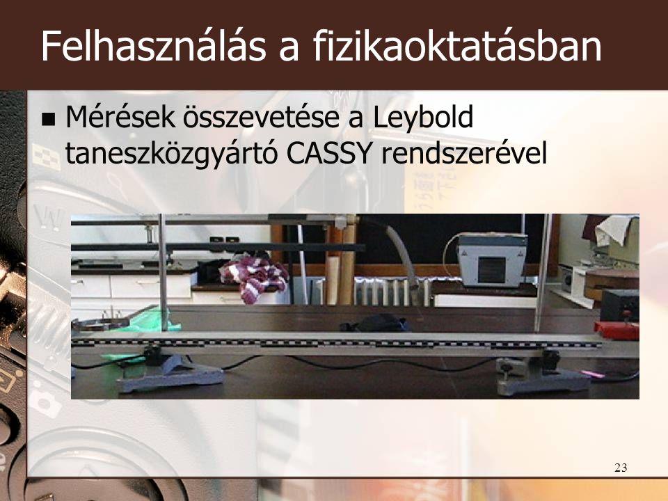 23 Felhasználás a fizikaoktatásban  Mérések összevetése a Leybold taneszközgyártó CASSY rendszerével