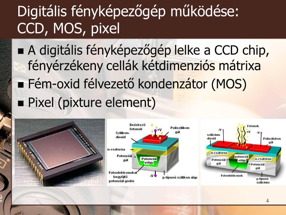 4 Digitális fényképezőgép működése: CCD, MOS, pixel  A digitális fényképezőgép lelke a CCD chip, fényérzékeny cellák kétdimenziós mátrixa  Fém-oxid félvezető kondenzátor (MOS)  Pixel (pixture element)