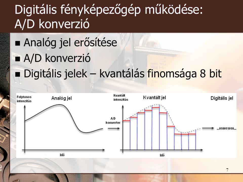 7 Digitális fényképezőgép működése: A/D konverzió  Analóg jel erősítése  A/D konverzió  Digitális jelek – kvantálás finomsága 8 bit