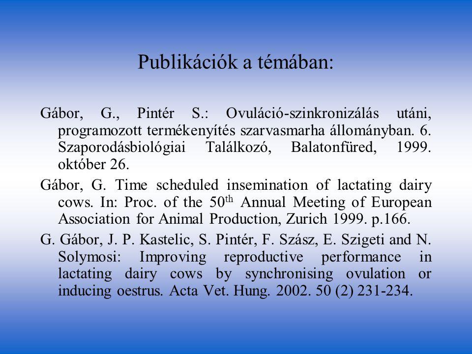 Publikációk a témában: Gábor, G., Pintér S.: Ovuláció-szinkronizálás utáni, programozott termékenyítés szarvasmarha állományban. 6. Szaporodásbiológia