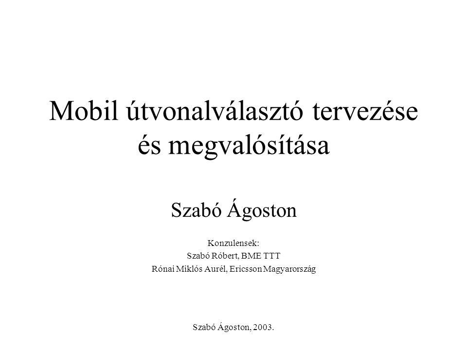 Szabó Ágoston, 2003. Mobil útvonalválasztó tervezése és megvalósítása Szabó Ágoston Konzulensek: Szabó Róbert, BME TTT Rónai Miklós Aurél, Ericsson Ma