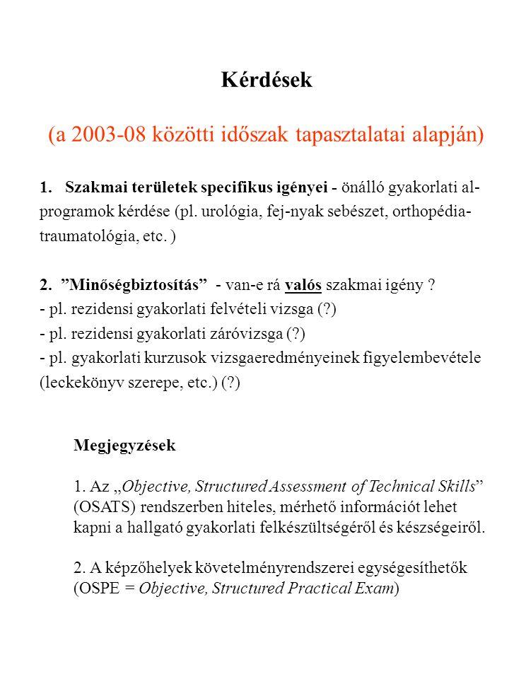 Kérdések (a 2003-08 közötti időszak tapasztalatai alapján) 1.