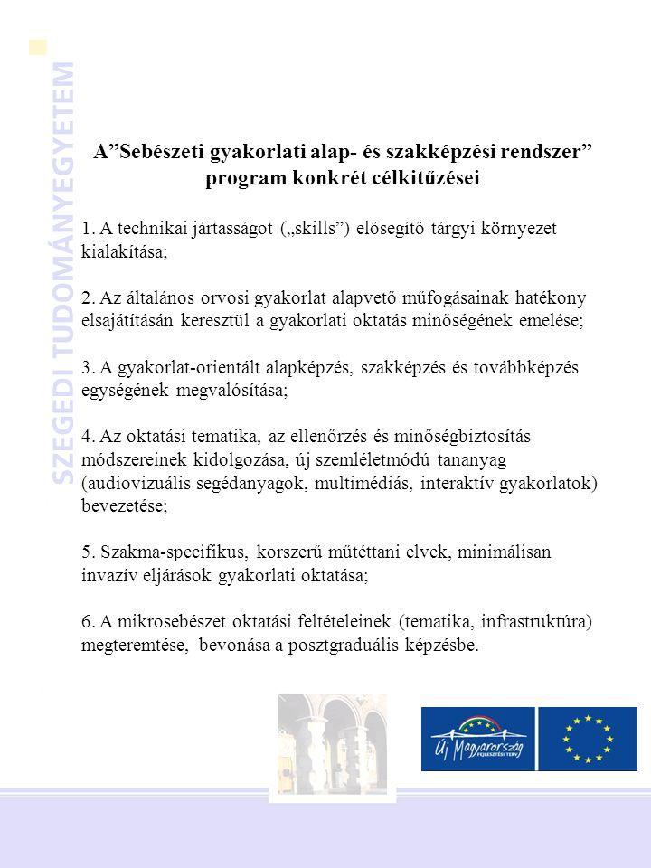 A Sebészeti gyakorlati alap- és szakképzési rendszer program konkrét célkitűzései 1.