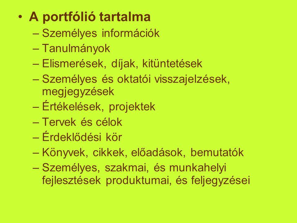 •A portfólió tartalma –Személyes információk –Tanulmányok –Elismerések, díjak, kitüntetések –Személyes és oktatói visszajelzések, megjegyzések –Értéke