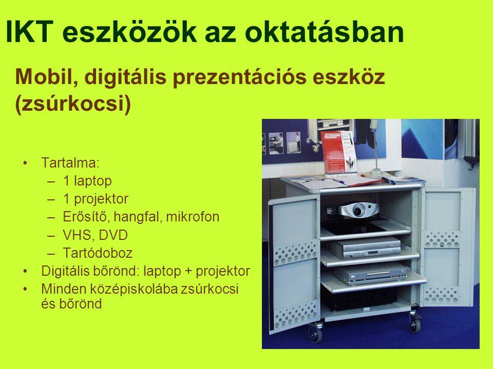 IKT eszközök az oktatásban •Tartalma: –1 laptop –1 projektor –Erősítő, hangfal, mikrofon –VHS, DVD –Tartódoboz •Digitális bőrönd: laptop + projektor •