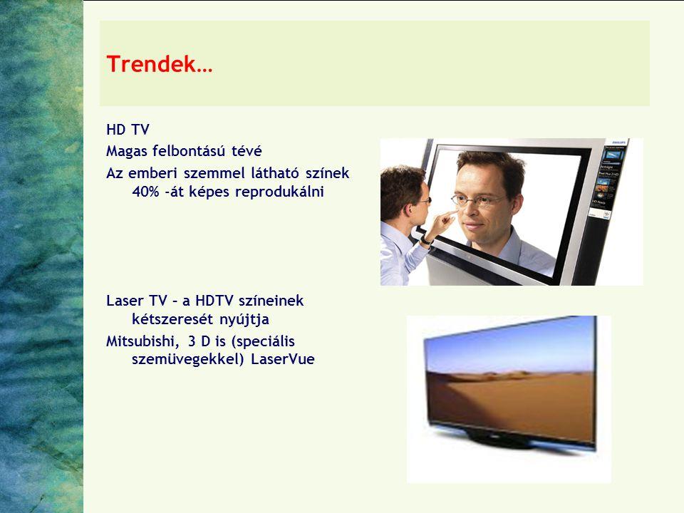 Trendek… HD TV Magas felbontású tévé Az emberi szemmel látható színek 40% -át képes reprodukálni Laser TV – a HDTV színeinek kétszeresét nyújtja Mitsubishi, 3 D is (speciális szemüvegekkel) LaserVue