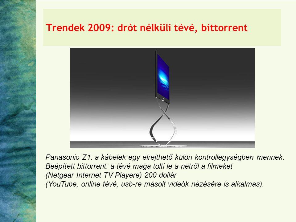 Trendek 2009: drót nélküli tévé, bittorrent Panasonic Z1: a kábelek egy elrejthető külön kontrollegységben mennek.