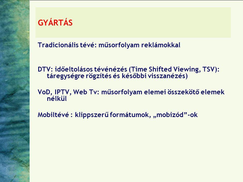 """GYÁRTÁS Tradicionális tévé: műsorfolyam reklámokkal DTV: időeltolásos tévénézés (Time Shifted Viewing, TSV): táregységre rögzítés és későbbi visszanézés) VoD, IPTV, Web Tv: műsorfolyam elemei összekötő elemek nélkül Mobiltévé : klippszerű formátumok, """"mobizód -ok"""