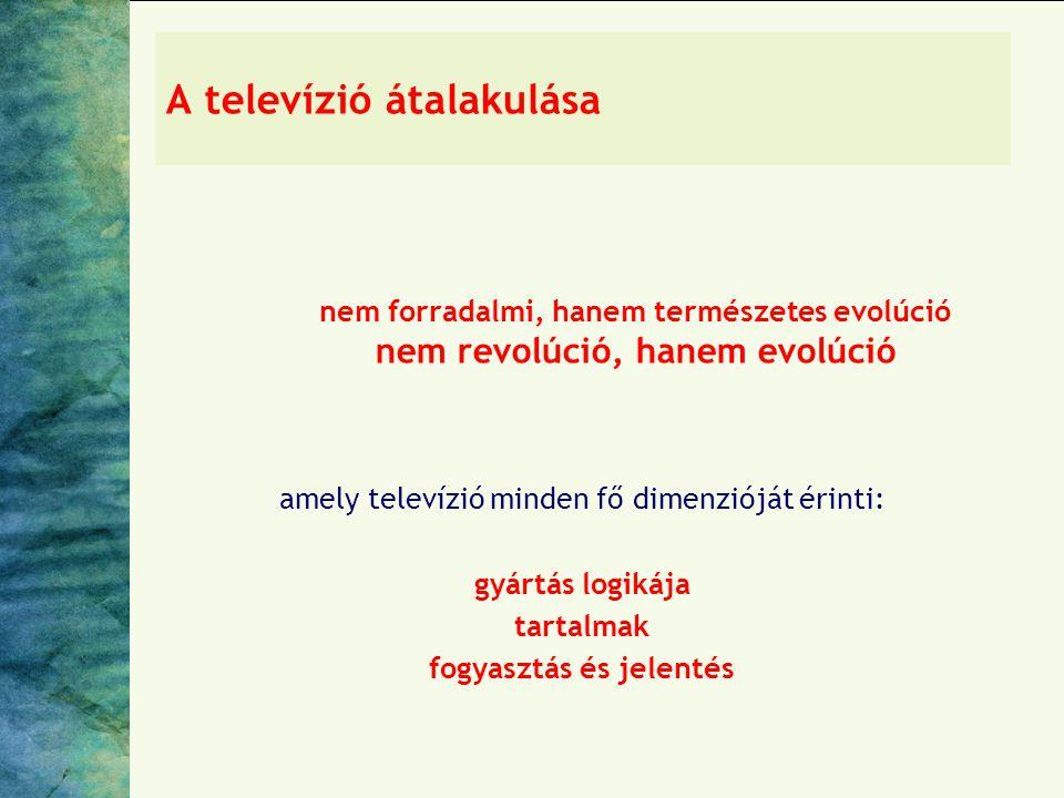 A televízió átalakulása nem forradalmi, hanem természetes evolúció nem revolúció, hanem evolúció amely televízió minden fő dimenzióját érinti: gyártás logikája tartalmak fogyasztás és jelentés