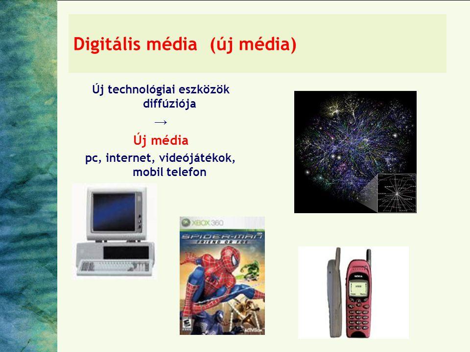 Digitális média (új média) Új technológiai eszközök diffúziója → Új média pc, internet, videójátékok, mobil telefon