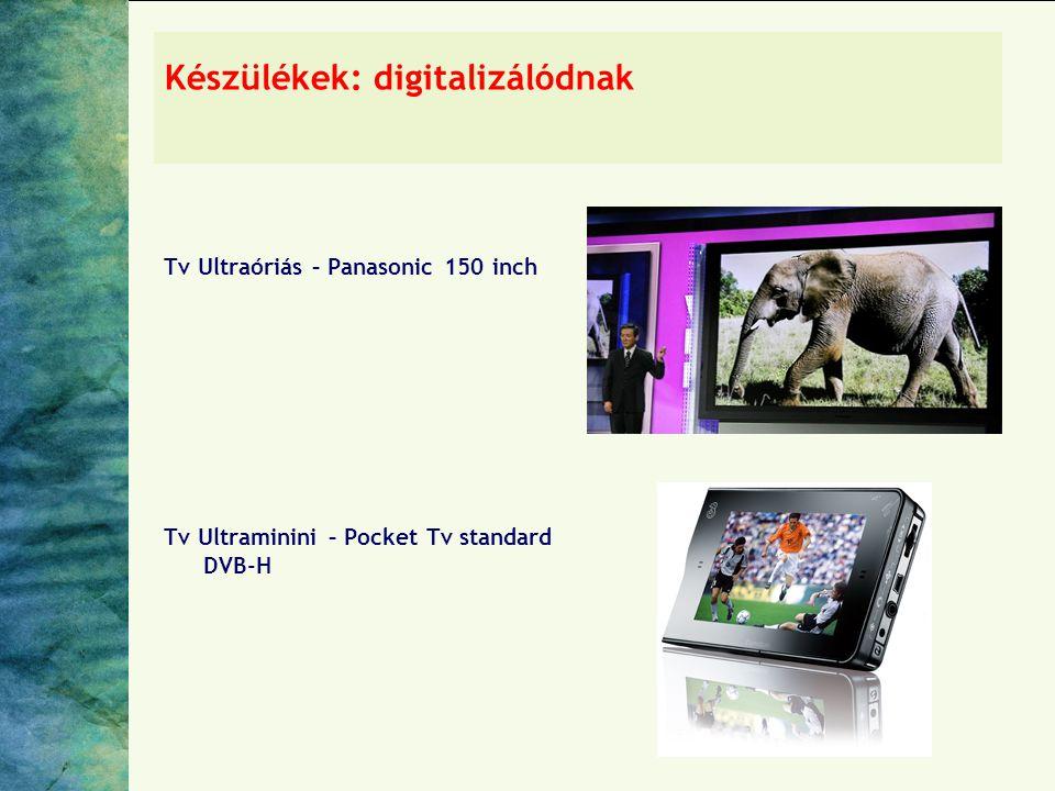Készülékek: digitalizálódnak Tv Ultraóriás – Panasonic 150 inch Tv Ultraminini – Pocket Tv standard DVB-H
