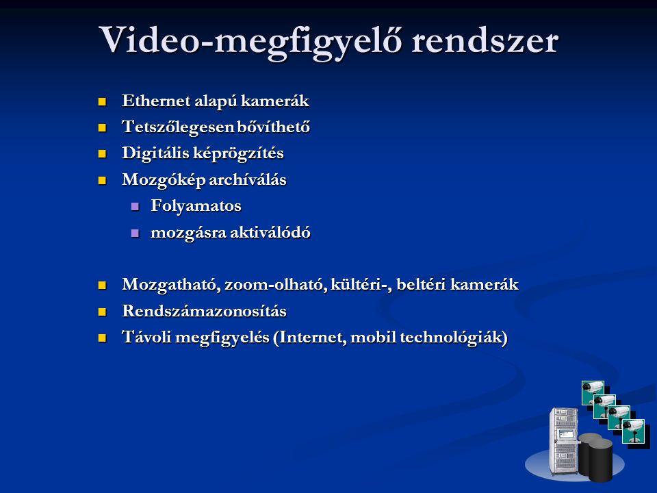 Ethernet alapú kamerák  Tetszőlegesen bővíthető  Digitális képrögzítés  Mozgókép archíválás  Folyamatos  mozgásra aktiválódó  Mozgatható, zoom