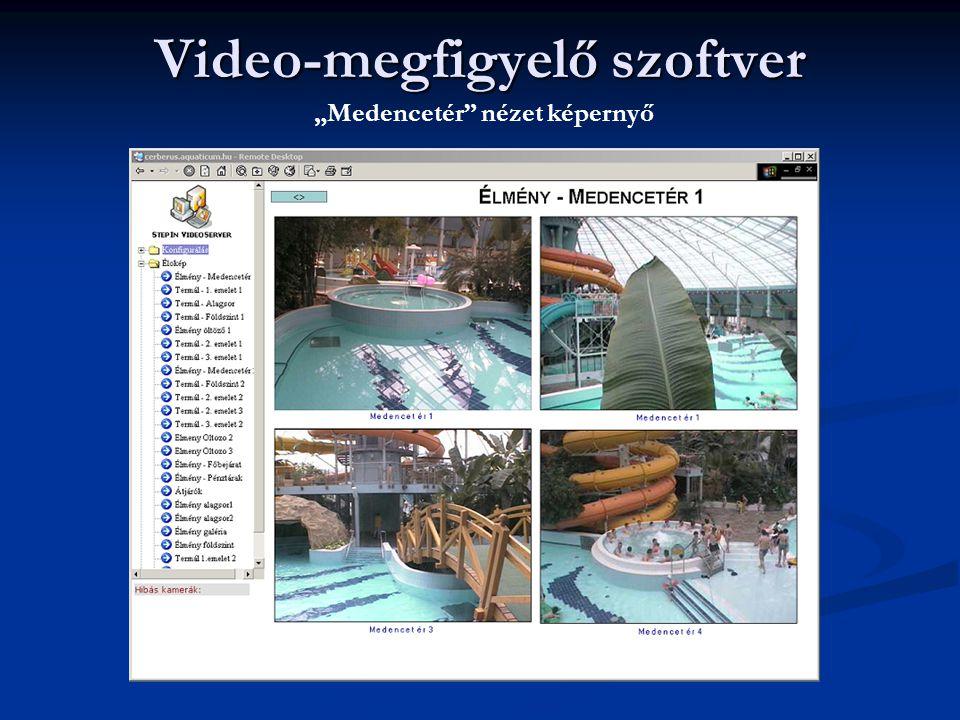 """Video-megfigyelő szoftver """"Medencetér"""" nézet képernyő"""