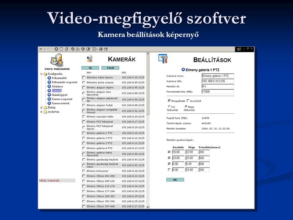 Video-megfigyelő szoftver Kamera beállítások képernyő