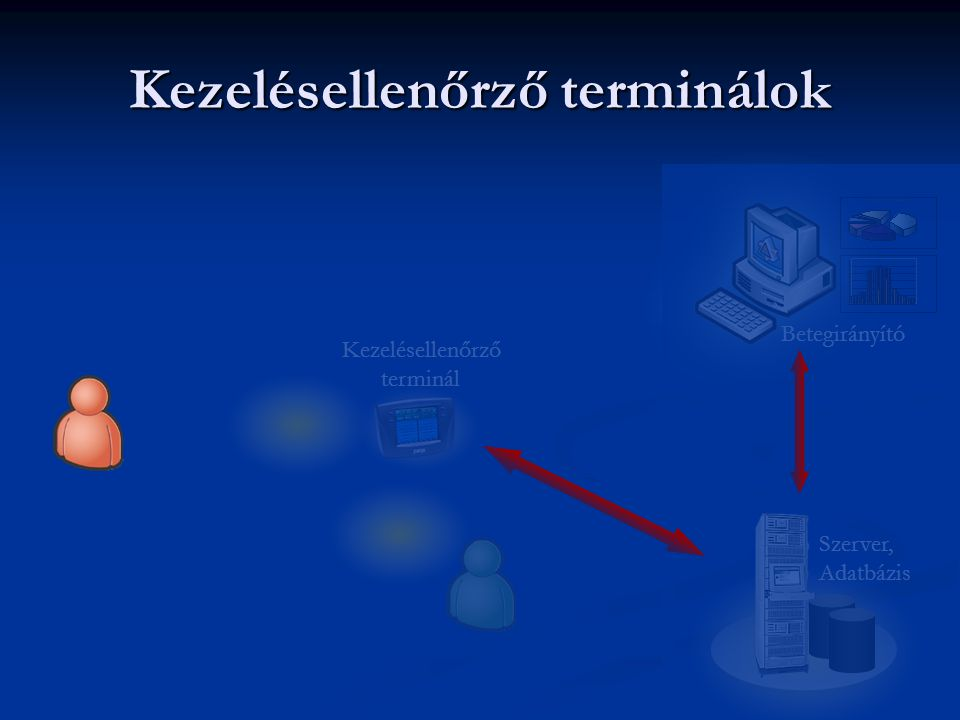 Betegirányító Kezelésellenőrző terminál Kezelésellenőrző terminálok Szerver, Adatbázis