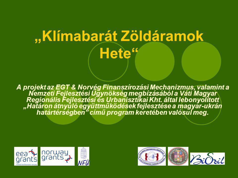 """""""Klímabarát Zöldáramok Hete A projekt az EGT & Norvég Finanszírozási Mechanizmus, valamint a Nemzeti Fejlesztési Ügynökség megbízásából a Váti Magyar Regionális Fejlesztési és Urbanisztikai Kht."""