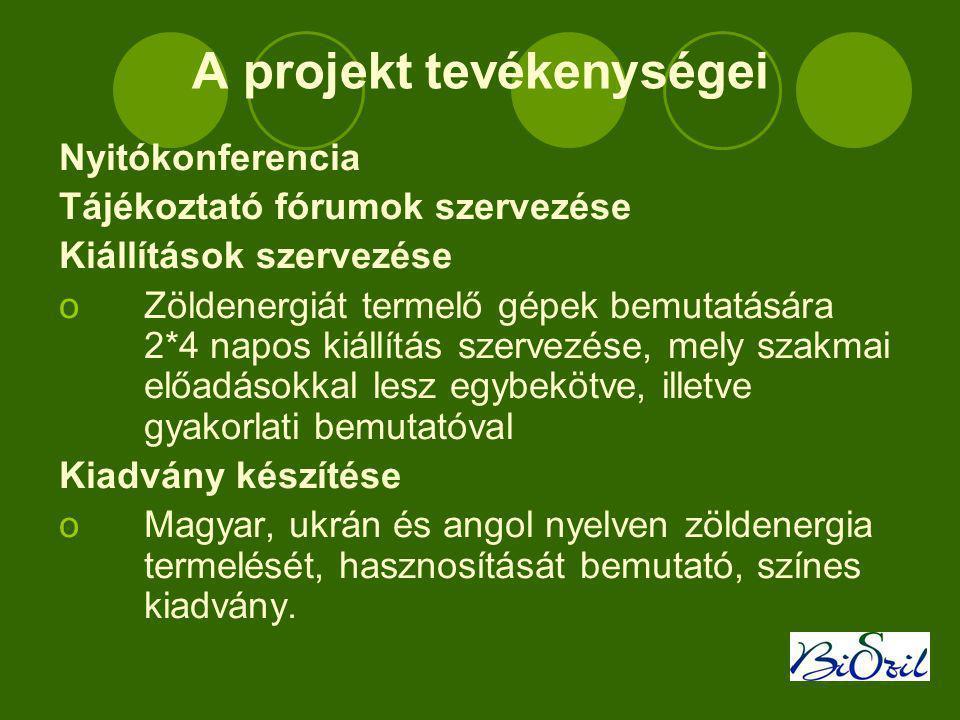 A projekt tevékenységei Nyitókonferencia Tájékoztató fórumok szervezése Kiállítások szervezése oZöldenergiát termelő gépek bemutatására 2*4 napos kiállítás szervezése, mely szakmai előadásokkal lesz egybekötve, illetve gyakorlati bemutatóval Kiadvány készítése oMagyar, ukrán és angol nyelven zöldenergia termelését, hasznosítását bemutató, színes kiadvány.