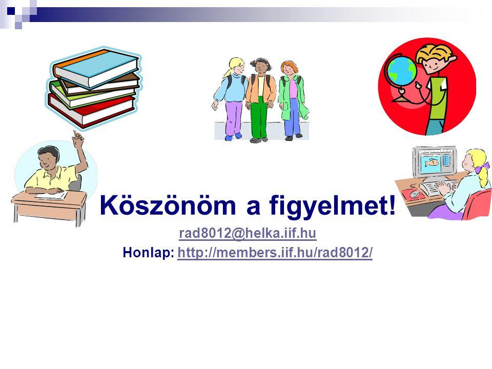 Köszönöm a figyelmet! rad8012@helka.iif.hu Honlap: http://members.iif.hu/rad8012/http://members.iif.hu/rad8012/
