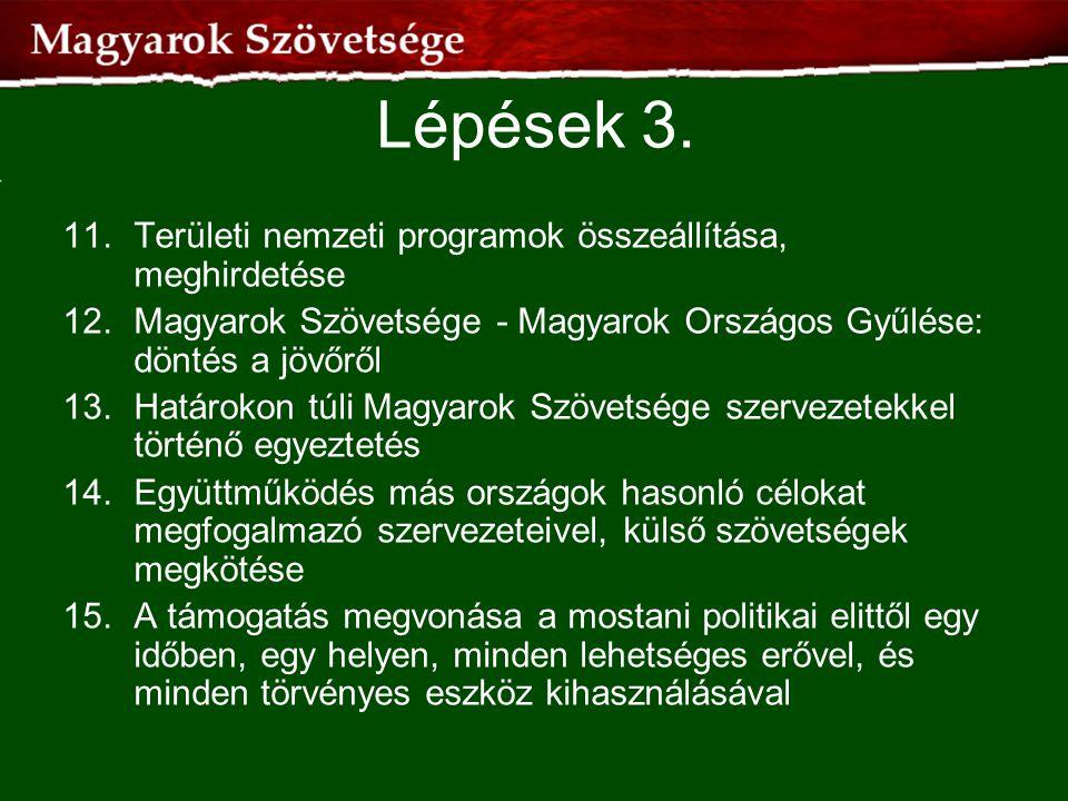 Lépések 3. 11.Területi nemzeti programok összeállítása, meghirdetése 12.Magyarok Szövetsége - Magyarok Országos Gyűlése: döntés a jövőről 13.Határokon