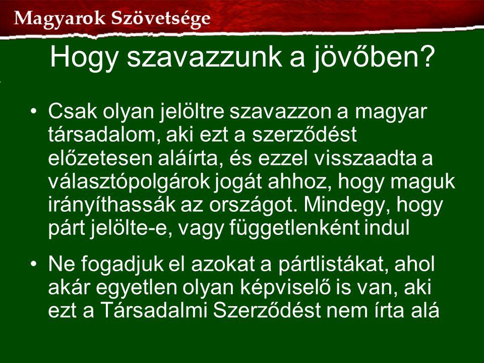 Hogy szavazzunk a jövőben? •Csak olyan jelöltre szavazzon a magyar társadalom, aki ezt a szerződést előzetesen aláírta, és ezzel visszaadta a választó