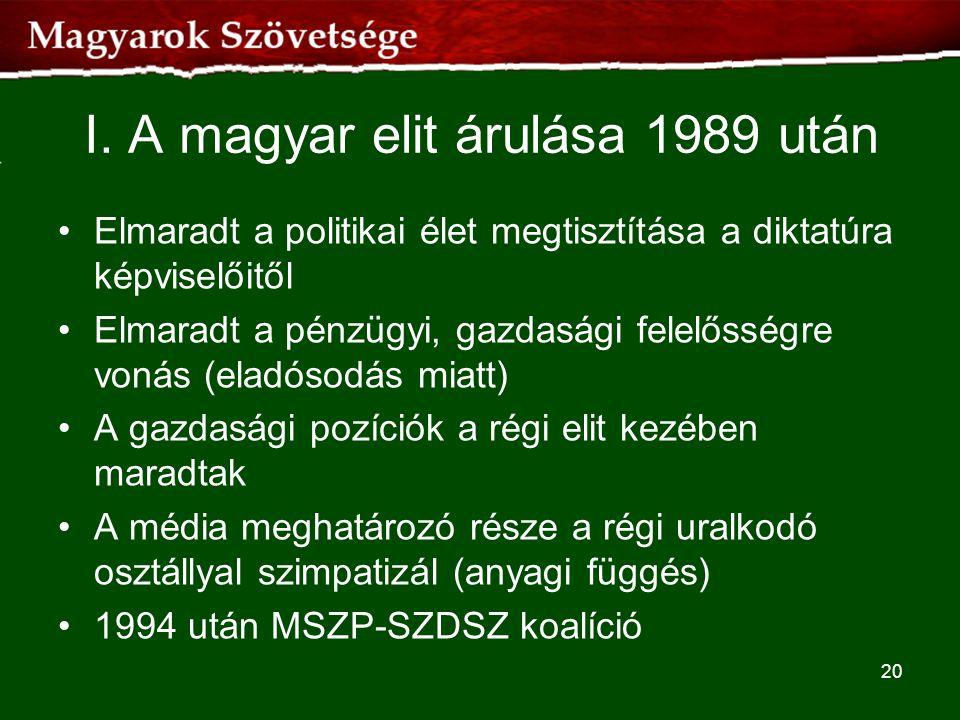I. A magyar elit árulása 1989 után •Elmaradt a politikai élet megtisztítása a diktatúra képviselőitől •Elmaradt a pénzügyi, gazdasági felelősségre von