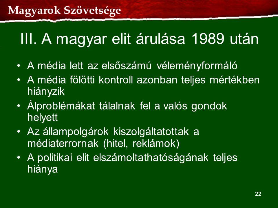 III. A magyar elit árulása 1989 után •A média lett az elsőszámú véleményformáló •A média fölötti kontroll azonban teljes mértékben hiányzik •Álproblém