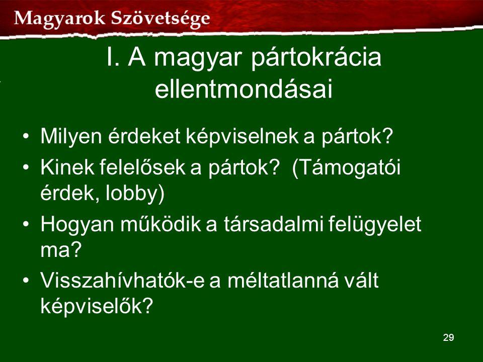 I. A magyar pártokrácia ellentmondásai •Milyen érdeket képviselnek a pártok? •Kinek felelősek a pártok? (Támogatói érdek, lobby) •Hogyan működik a tár