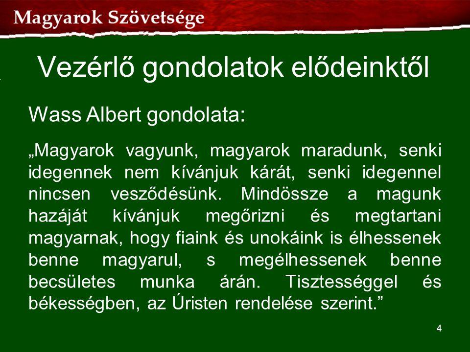 """Vezérlő gondolatok elődeinktől Wass Albert gondolata: """"Magyarok vagyunk, magyarok maradunk, senki idegennek nem kívánjuk kárát, senki idegennel nincse"""