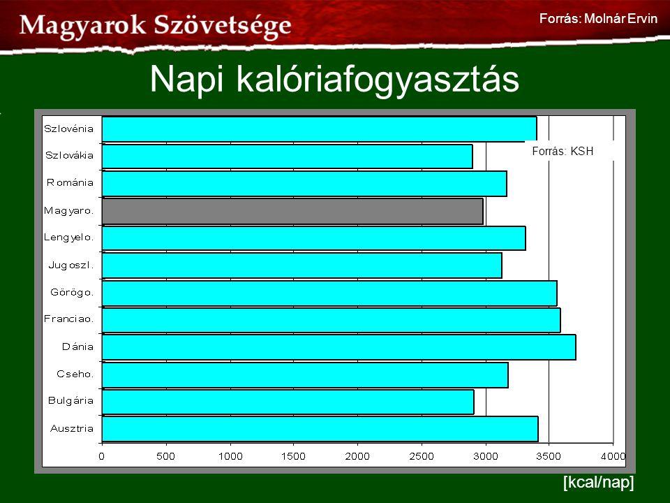 [kcal/nap] Forrás: KSH Napi kalóriafogyasztás Forrás: Molnár Ervin