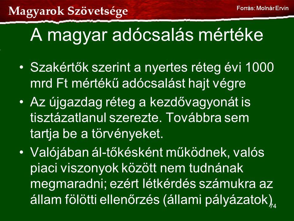 A magyar adócsalás mértéke •Szakértők szerint a nyertes réteg évi 1000 mrd Ft mértékű adócsalást hajt végre •Az újgazdag réteg a kezdővagyonát is tisz