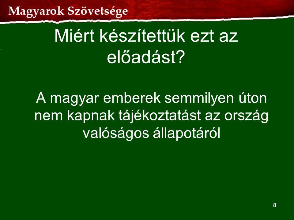 Miért készítettük ezt az előadást? A magyar emberek semmilyen úton nem kapnak tájékoztatást az ország valóságos állapotáról 8